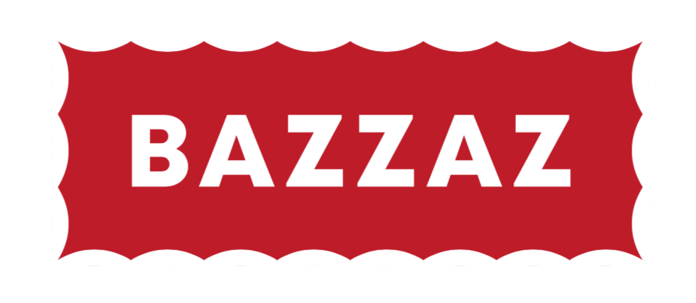 Bazzaz logo with red background, white wording and stamp border