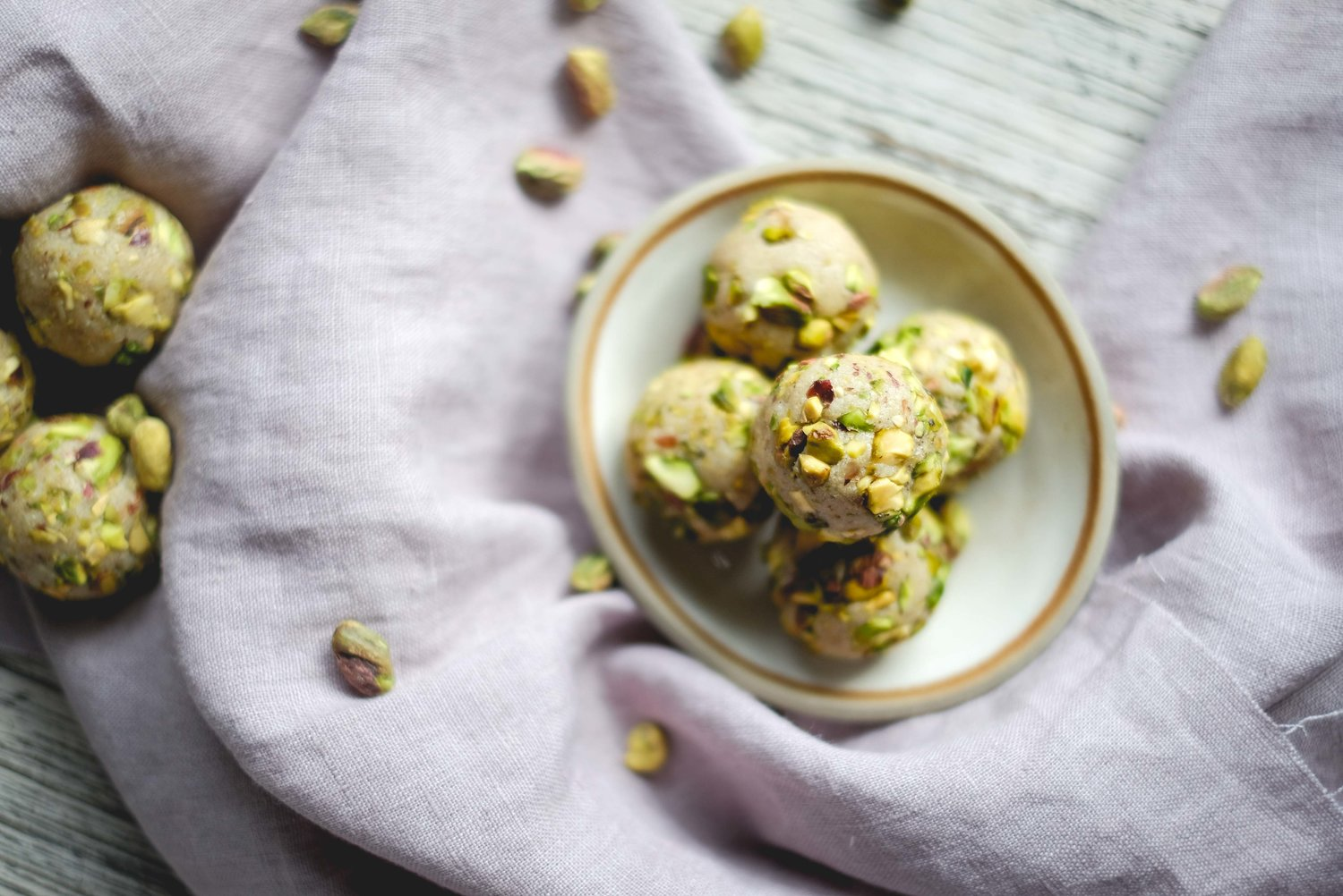 Pistachio, vanilla and honey protein balls by From My Little Kitchen