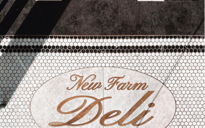New Farm Deli's tile upon entry